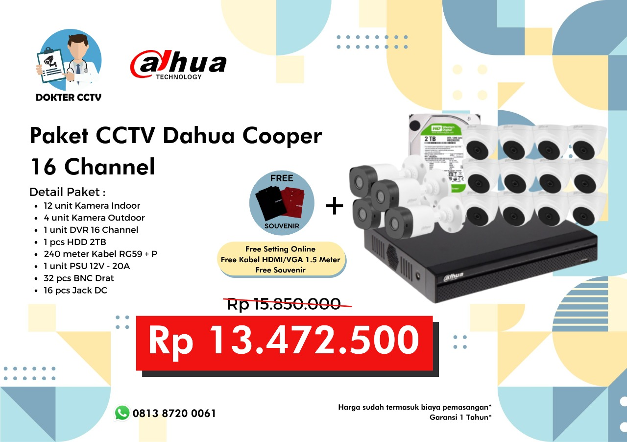 Paket CCTV Dahua Cooper 16 Channel