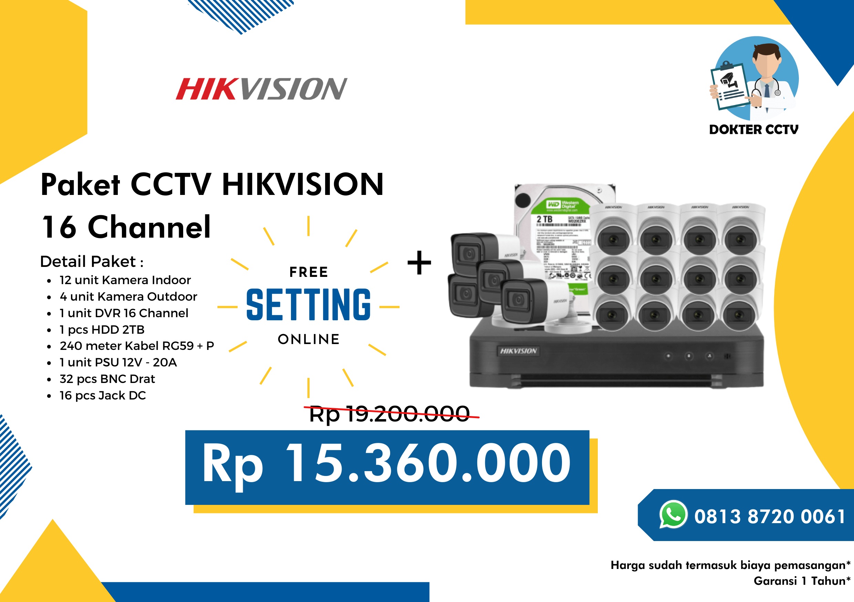 Paket CCTV Hikvision 16 Channel
